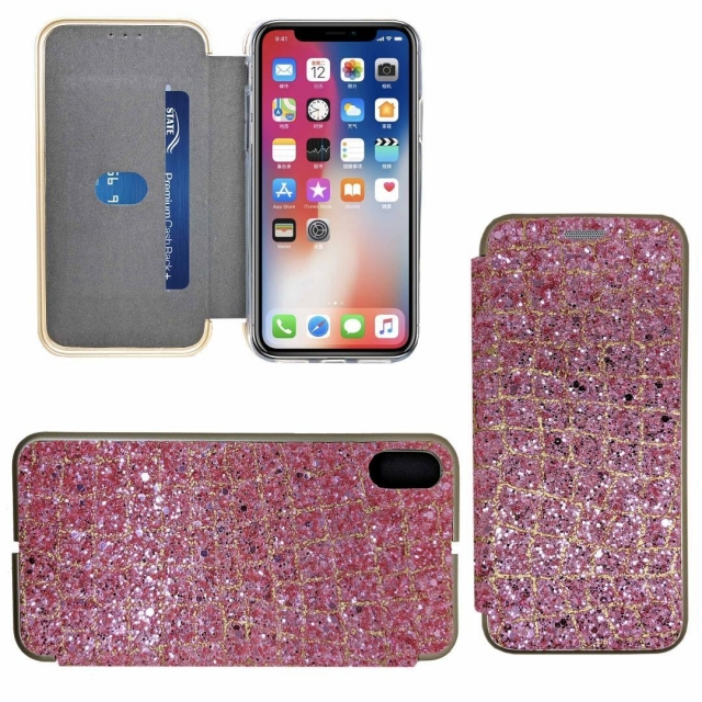 IPHONE XS MAX SHINY 3 BOOK CASE ROSE PINK