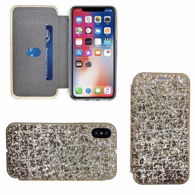 IPHONE XR SHINY 3 BOOK CASE GOLD
