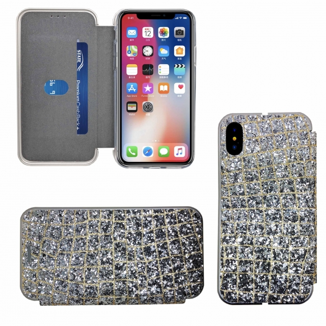 IPHONE XR SHINY 3 BOOK CASE SILVER