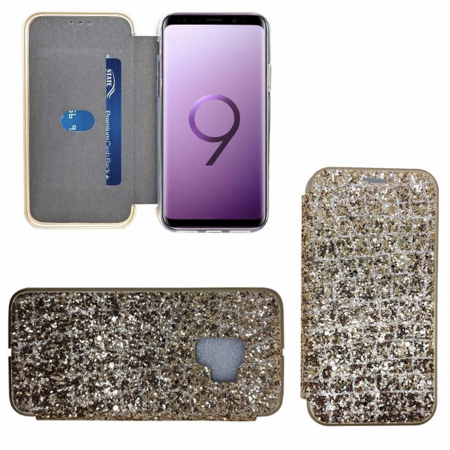 SAMSUNG S9 SHINY 3 BOOK CASE GOLD