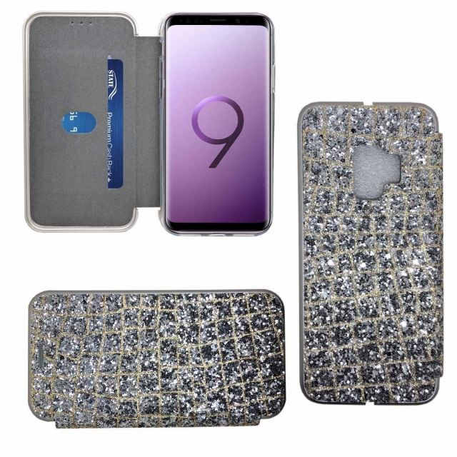 SAMSUNG S9 SHINY 3 BOOK CASE SILVER
