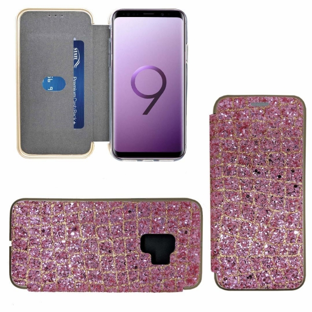 SAMSUNG S9 SHINY 3 BOOK CASE ROSE PINK