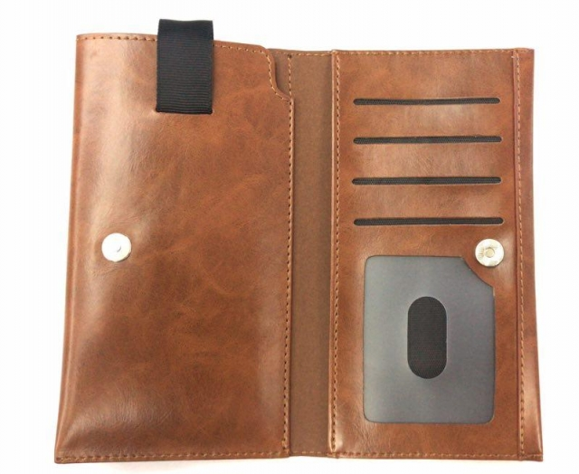 PULL UP POUCH WITH CARD SLOT BROWN MEDIUM