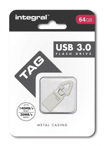 INTEGRAL 64GB USB TAG SMALL METAL DRIVE