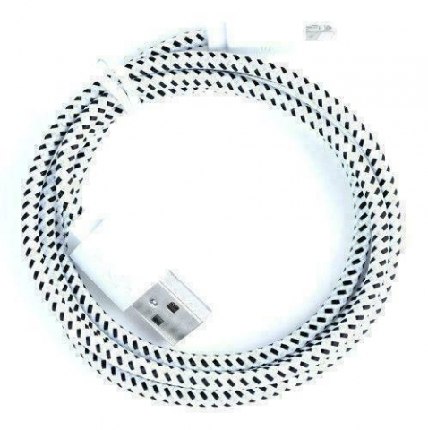 IPHONE DATA CABLE BRAIDED WHITE