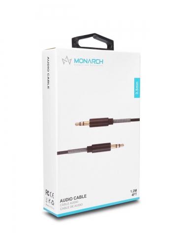 Monarch Spring 3.5 mm Aux cable 1.2m BLACK 90 degree Zinc Connectors WHITE