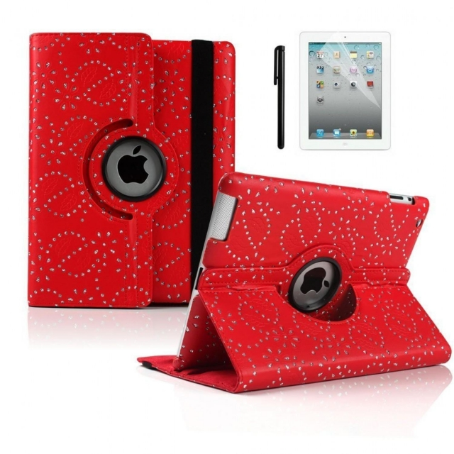 SAMSUNG TAB T510 ROTATING CASE RED