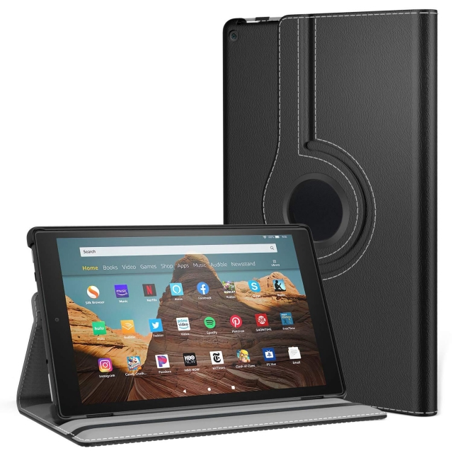 KINDLE FIRE HD 8 INCH 2018 360 CASE BLK
