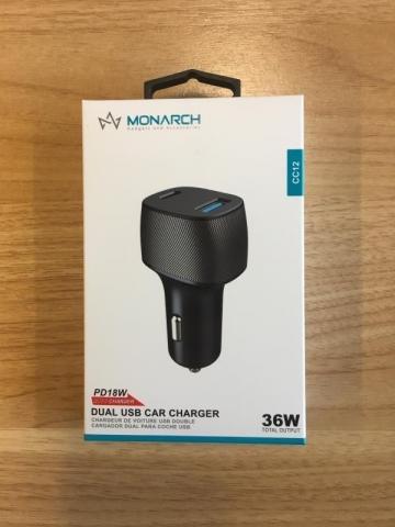 MONARCH PD DUAL USB CAR CHARGER 36 WATT