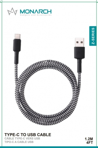 Monarch Type c Cable Z Series 1.2 METER Black/White