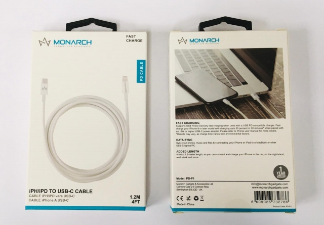 Monarch IPHONE PD CABLE WHITE