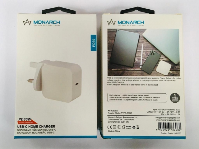 Monarch 30W USB-C PD Home Charger