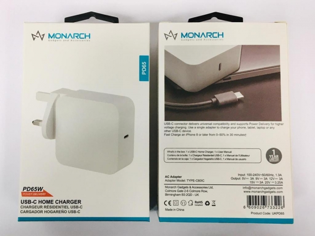Monarch 65W USB-C PD Home Charger