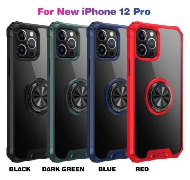 IPHONE 11 6.1 RING RAISED CORNER CASE BLACK