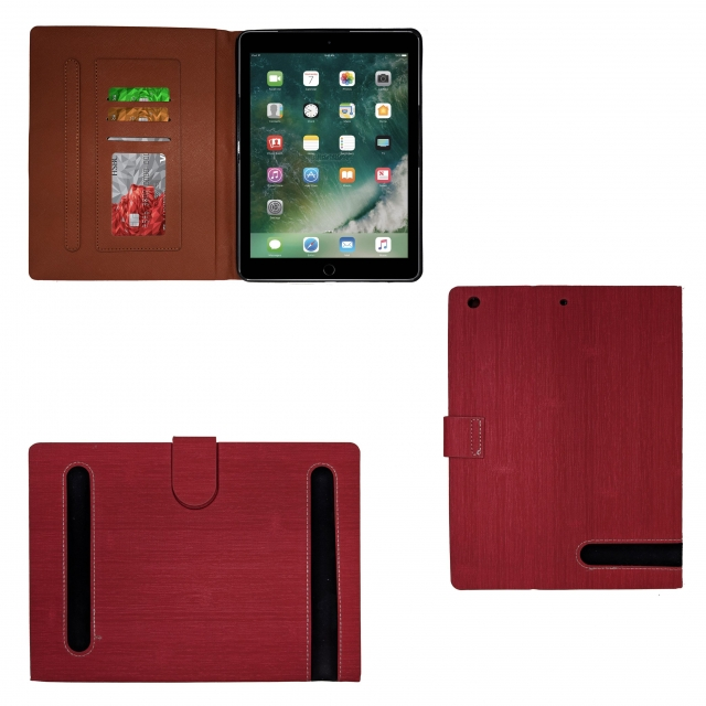 IPAD AIR RED LEATHER BOOK FLIP CASE