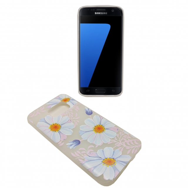 SAMSUNG S7 PINK BASE WHITE FLOWER GEL CASE
