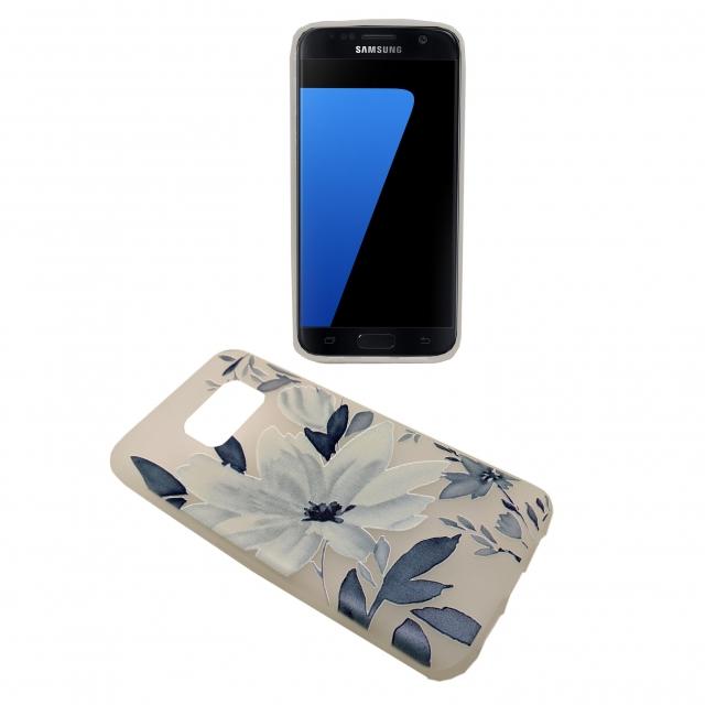 SAMSUNG S7 WHITE BASE BLUE FLOWER GEL CASE
