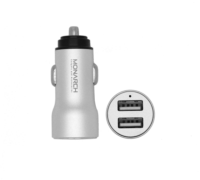 MONARCH DUAL USB CAR CHARGER 3.4 MH SILVER